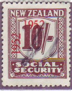1947 - 58 Social Security 10/- Red-Brown