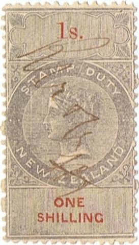 1/- Grey & Red (2 Lines) NZ Monogram Watermark