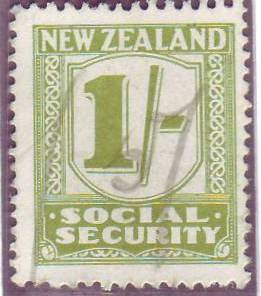 1939 Social Security 1/- Yellow-Green
