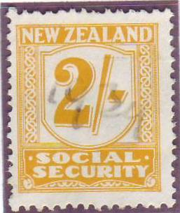 1939 Social Security 2/- Yellow
