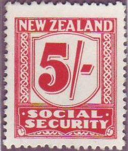 1939 Social Security 5/- Carmine