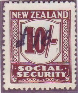 1939 Social Security 10/- Deep Red-Brown