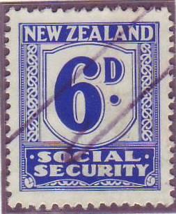 1939 Social Security 6d Blue