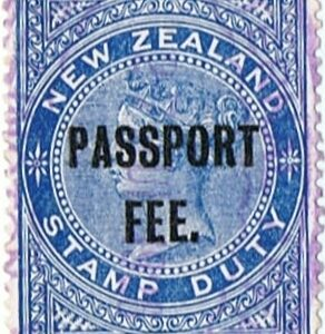 Passport Fee - 2/- Blue (QV Longtype)