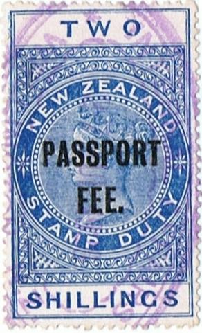 Passport Fee - 2/- Blue (QV Longtype)