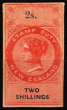 2/- Orange-Red and Blue (NZ Monogram watermark) Imperf