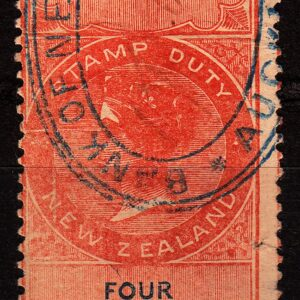 4/- Orange-Red & Blue (NZ Monogram)