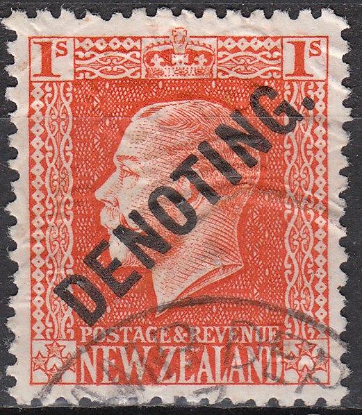Denoting 1/- Orange-Vermillion George V
