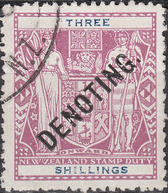 Denoting - 3/- Violet & Blue Arms