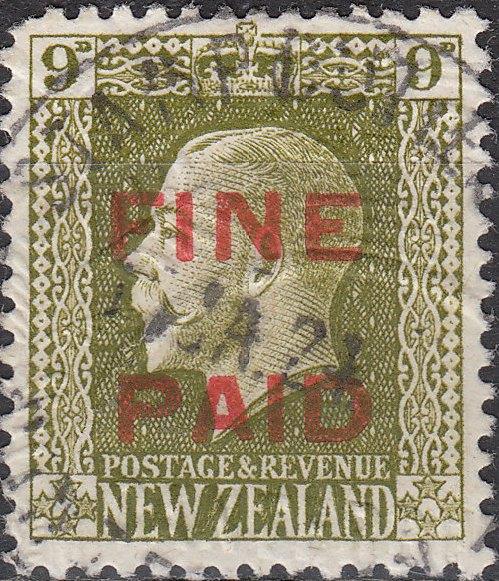 George V 9d Sage-Green (Red Overprint)
