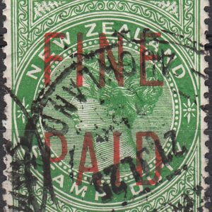QVLT 5/- Green (Red Overprint)