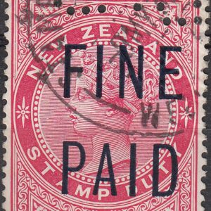 QVLT 6/- Rose (Blue Overprint)
