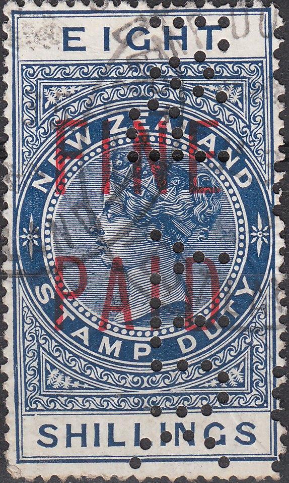 QVLT 8/- Blue (Red Overprint)