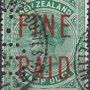 QVLT 15/- Green (Red Overprint)