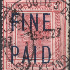 QVLT 2 pounds 10/- Red (Blue Overprint)