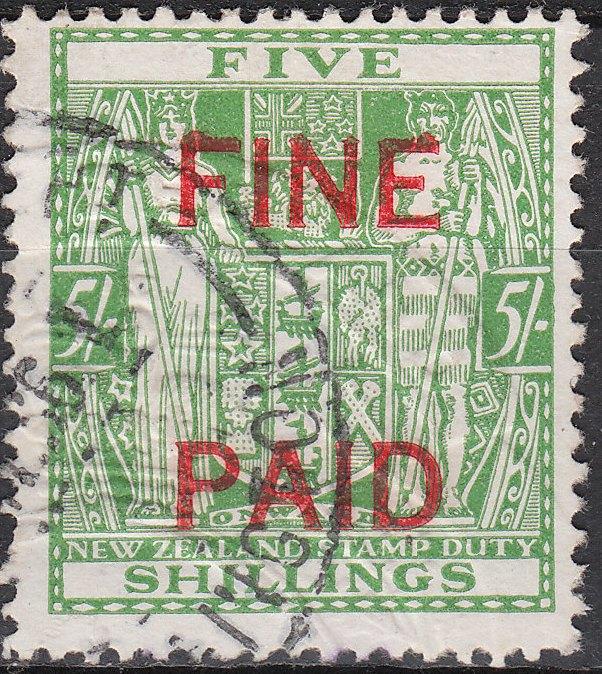 5/- Green (Red Overprint)