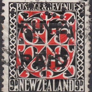 1935 Pictorials 9d Red and Black (Black Overprint)