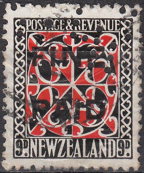 1935 Pictorials 9d Red and Black (Black Overprint)