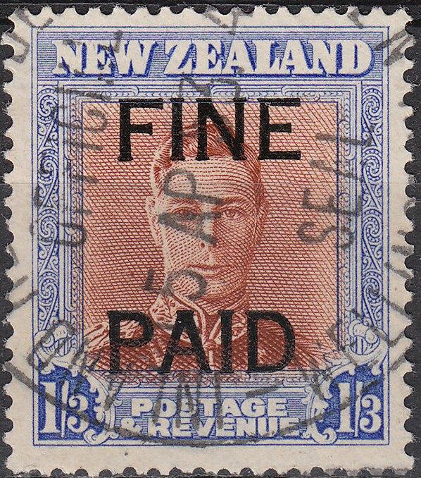 George VI 1/3 Brown and Blue (Black Overprint)