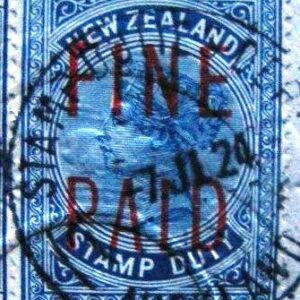 QVLT 25/- Blue (Red Overprint)