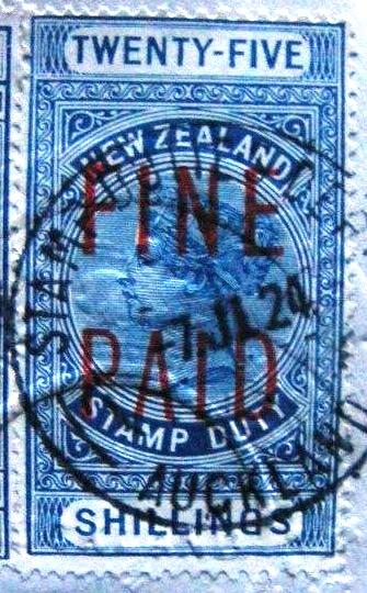 QVLT 25/- Blue (Red Overprint)