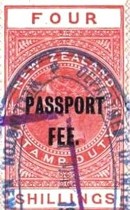 Passport Fee - 4/- Red (QV Longtype)