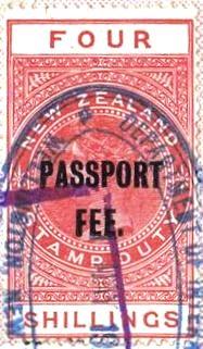 Passport Fee - 4/- Red (QV Longtype)