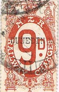 9d Red-Brown Railways Charge