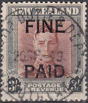 George VI 3/- Brown and Grey (Black Overprint)