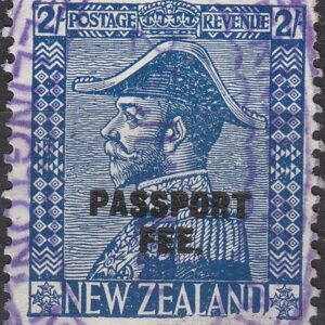 Passport Fee - 2/- Blue (George V Admirals Design)