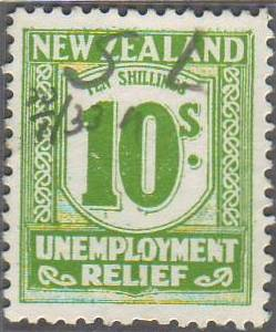 1931 - 33 Unemployment Relief 10/- Yellow-Green