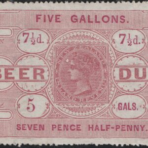 Beer Duty - 1878 7 1/2d Red-Brown & Carmine: Sans Serif Letters