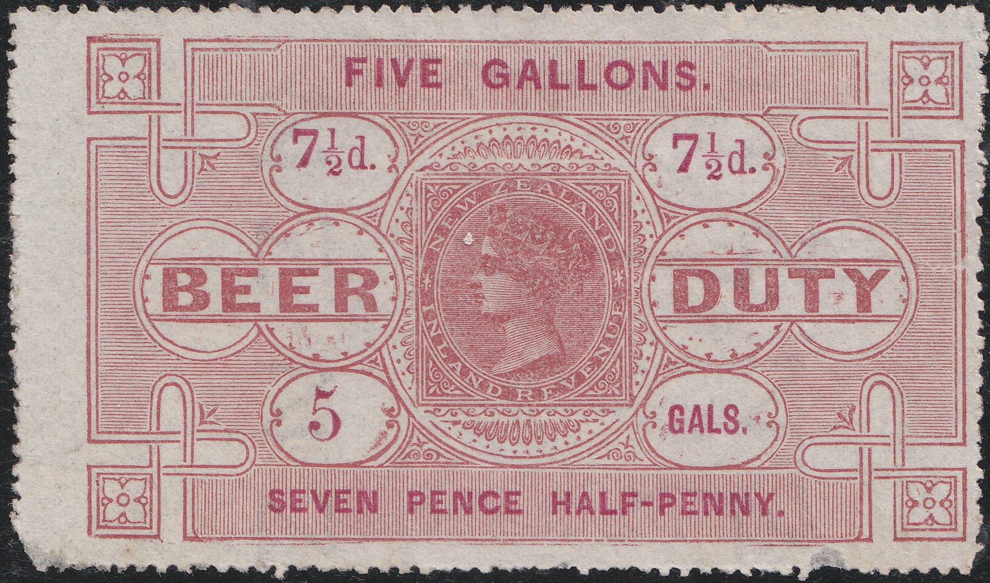 Beer Duty - 1878 7 1/2d Red-Brown & Carmine: Sans Serif Letters