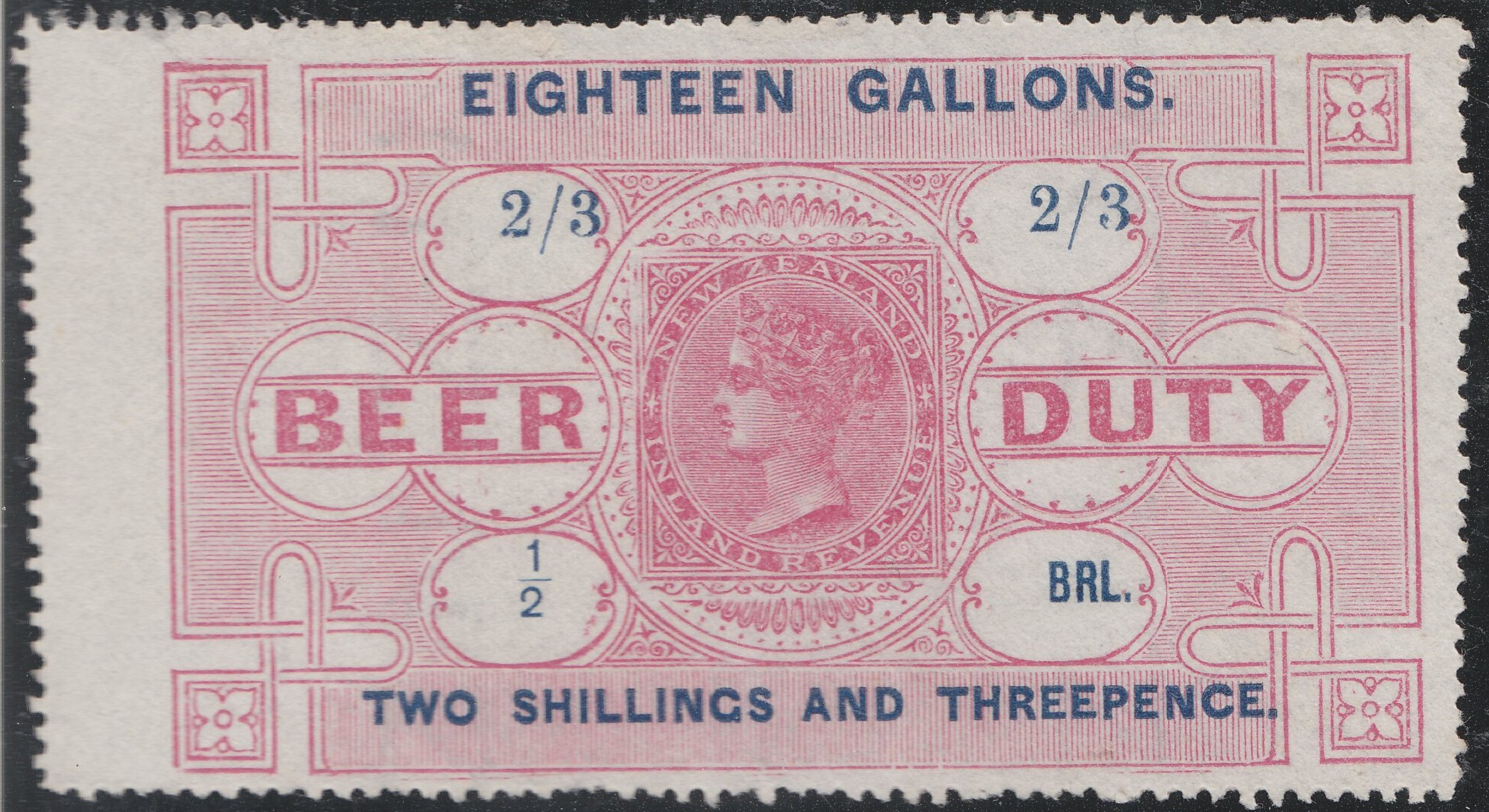 Beer Duty - 1878 2/3 Rose & Blue