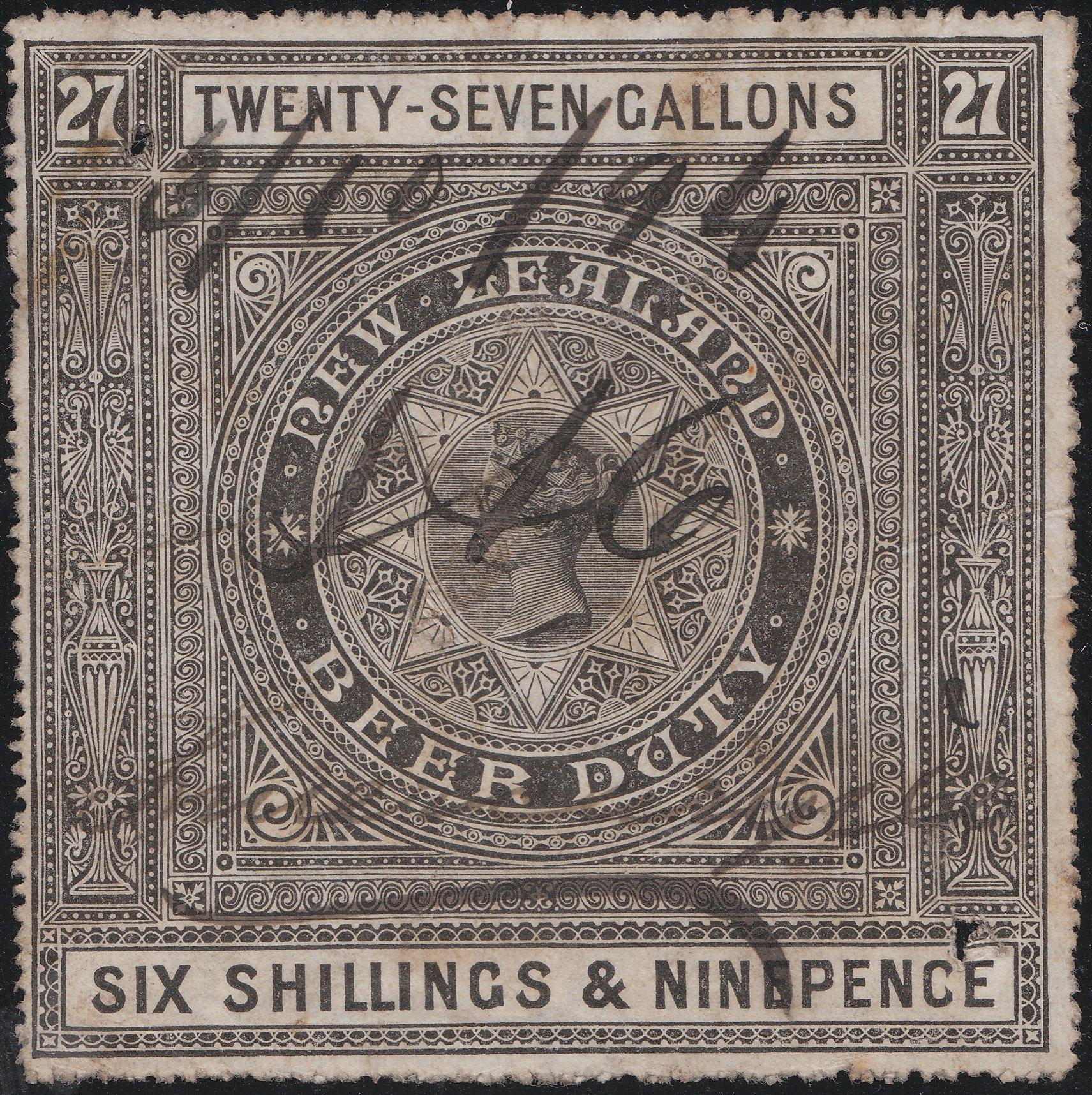 Beer Duty - 1883 6/9 Black & Deep Bronze