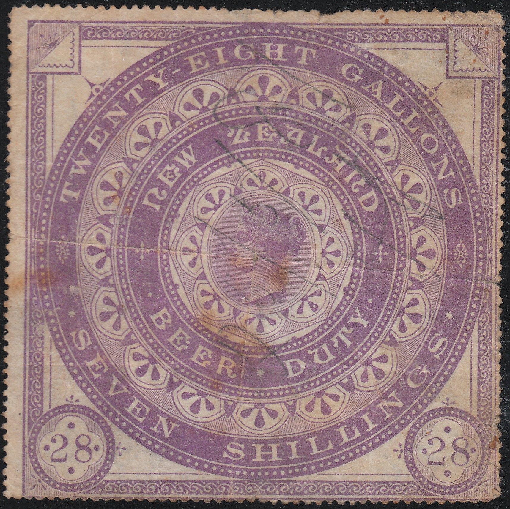 Beer Duty - 1883 7/- Violet