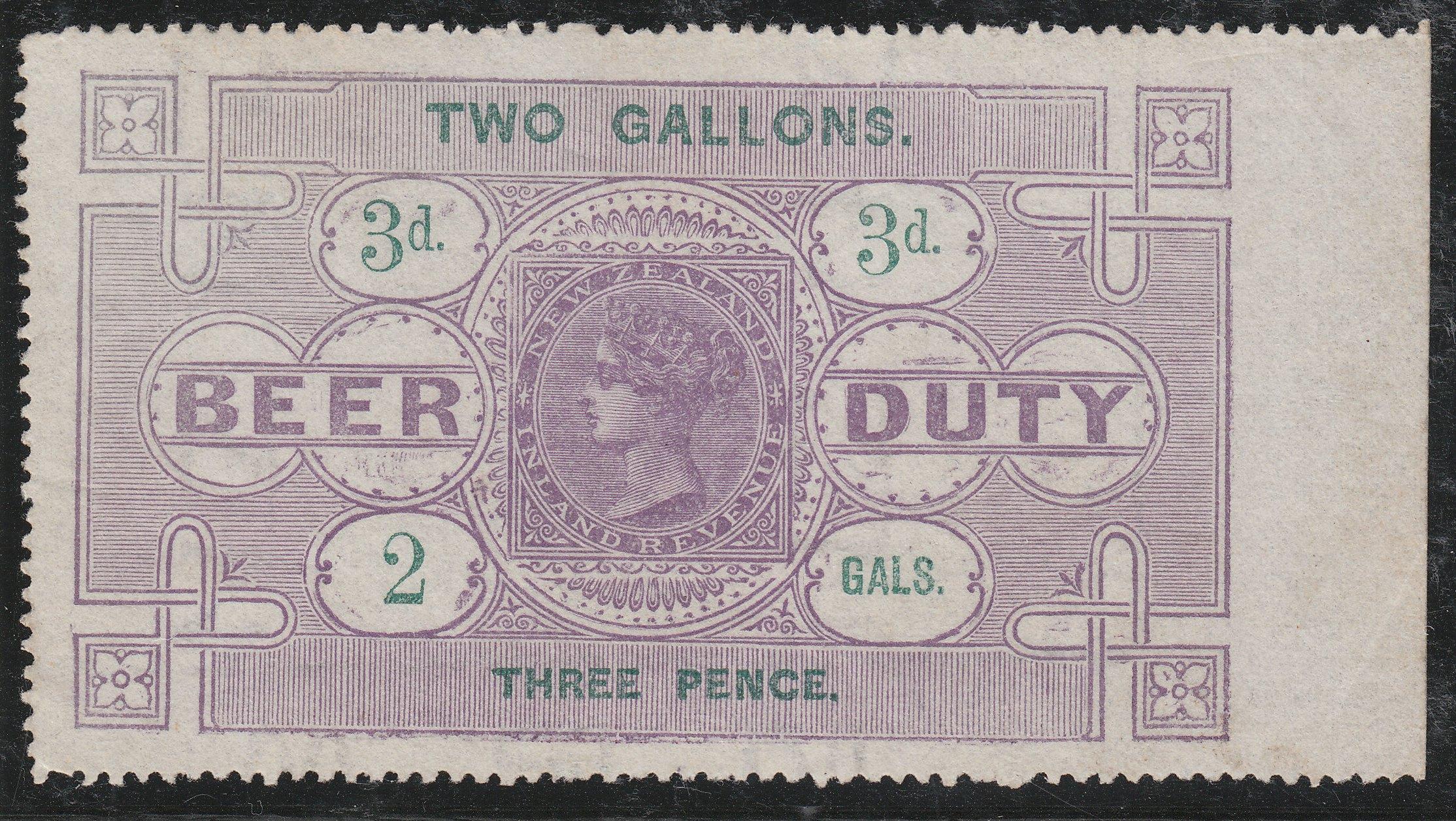 Beer Duty - 1878 3d Violet & Green