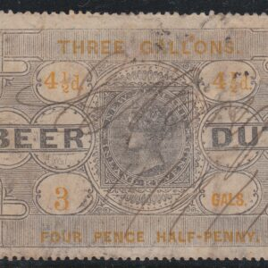 Beer Duty - 1878 4 1/2d Black & Yellow