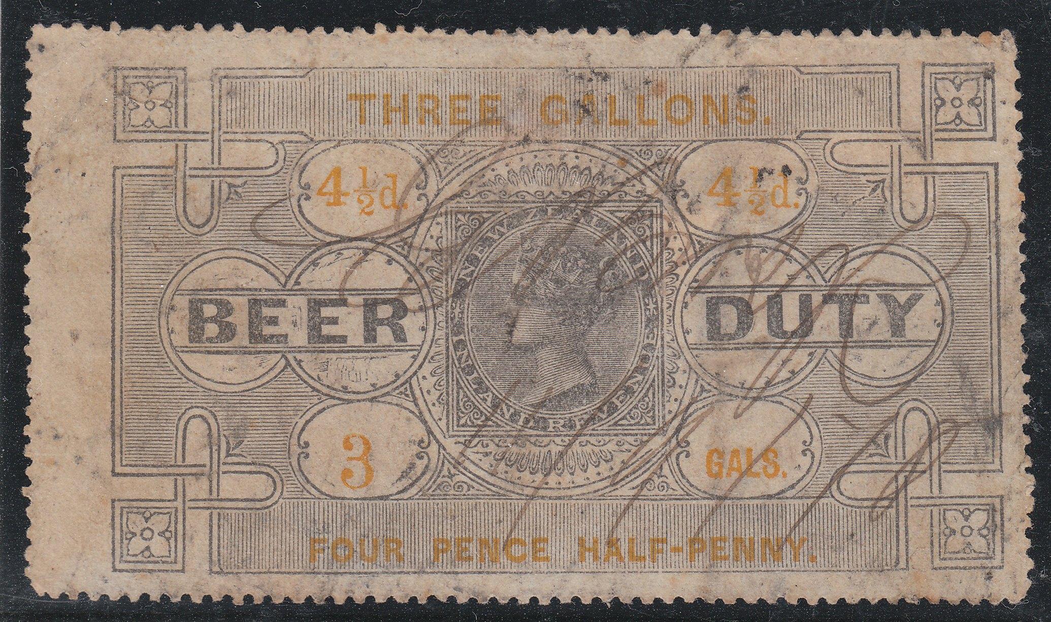 Beer Duty - 1878 4 1/2d Black & Yellow