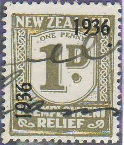 1936 UR o/p 1d Grey
