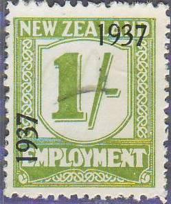 1937 Employment 1/- Yellow-Green
