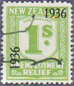 1936 UR o/p 1/- Yellow-Green