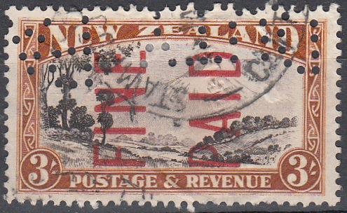 1935 Pictorials 3/- Chocolate and Brown (Red Overprint)