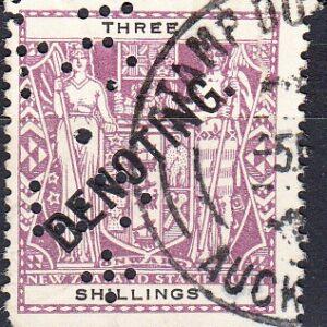Denoting - 3/- Violet & Black Arms