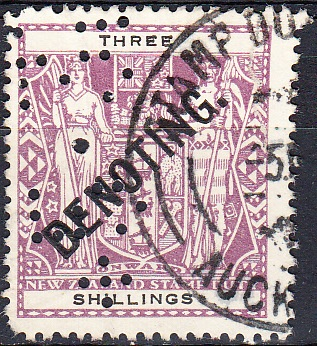 Denoting - 3/- Violet & Black Arms